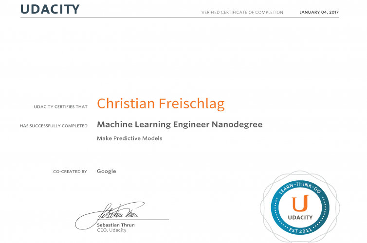 Machine Learning Nanodegree – Udacity