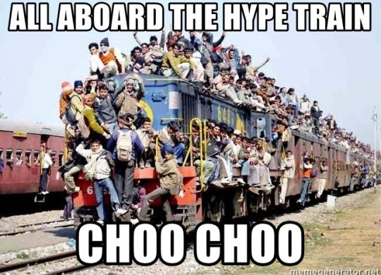 A train full of people, aka the hype train