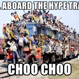A train full of people, aka the hype train